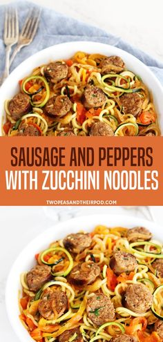 A sweet and spicy Italian sausage and peppers with zucchini noodles! Topped with., Food And Drinks, A sweet and spicy Italian sausage and peppers with zucchini noodles! Topped with inpiralized onions and garlic tomato sauce, this recipe is very flavo. Summer Recipes, Healthy Dinner Recipes, Low Carb Recipes, Cooking Recipes, Summer Sausage Recipes, Recipes With Zucchini, Cooking Tips, Healthy Zucchini, Recipes