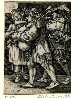 1518 - 1600 After Sebald Beham - Two musicians walking past a woman; reverse copy after Sebald Beham (Pauli 191); the bagpipe- and flute-player walking to left; the young woman in frontal view at left.