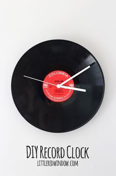 Make your own record clock from an old LP via littleredwindow.com!