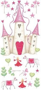 Princess Castle Removable Wall Decals - Fairy Princess, Castle, Trees, Hearts and Unicorns - Removable Wall Decals for Decorating Girls Room
