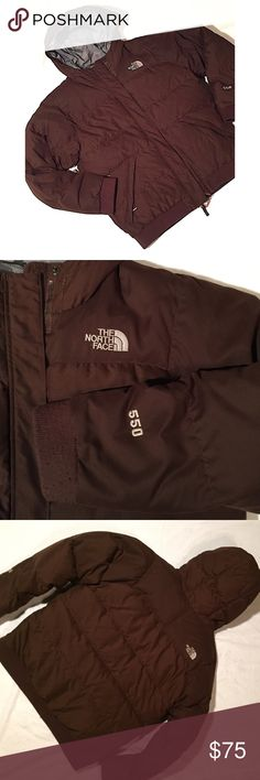North Face 550 hooded jacket North Face hooded brown 550 jacket, size Girls XL. Band at cuffs and at waist (only areas that show some sights of wear). Two front pockets with zipper closure. Inside zip pocket. Front full zipper. Lined in gray. GUC. Additional pictures available upon request. North Face Jackets & Coats Puffers
