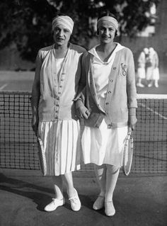 French tennis players Suzanne Lenglen and Julie Vlasto in Cannes in 1926. Dressed by Jean Patou