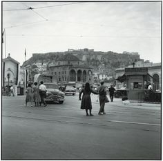 Robert McCabe, Athens 1954. Monastiraki Square. In the background the Acropolis, on the left the Byzantine church of the Pantanassa, in the center an Ottoman Mosque, and on the right the rail station.