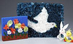 Kids' green craft idea: Plastic bag punch art pictures