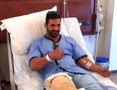 John Abraham gives a THUMBS UP after undergoing a knee surgery in Budapest  view pic!