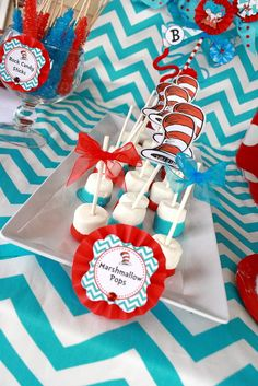 Dr. Seuss Thing 1 and Thing 2 1st Birthday Party for Twins - Twin - Red and Aqua Blue - Chevron & Polka Dots - Candy Sweets Dessert Table - Buffet - Ideas - Marshmallow Pops