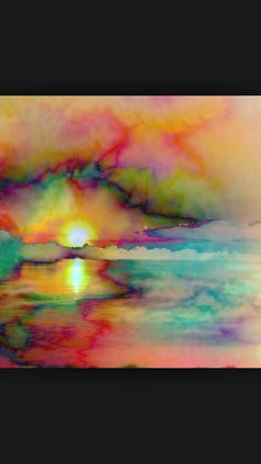 Watercolor Sunset or Sunrise Alcohol Ink Painting, Alcohol Ink Art, Watercolor Sunset, Watercolor Paintings, Watercolors, Painting Inspiration, Art Inspo, Hippie Art, Psychedelic Art