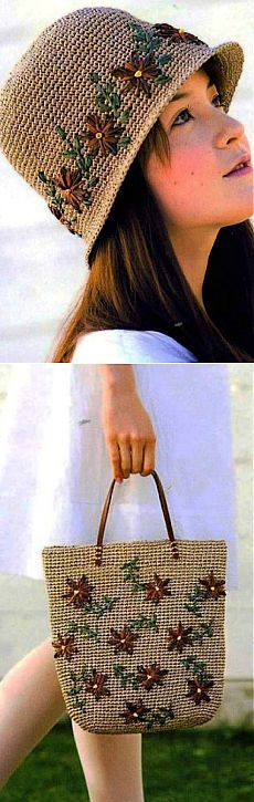 Шапочка и сумка крючком