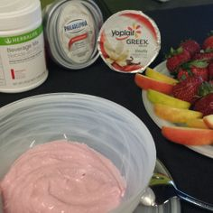 Fruit & Yogurt Dip Ingredients: 2 Scoops Herbalife Beverage Mix (Berry) 5 oz container of vanilla greek yogurt 3/4 cup of whipped (1/3 less fat) cream cheese Directions: Place all ingredients in bowl and mix thoroughly. For extra fluffiness, use a hand mixer on low speed.