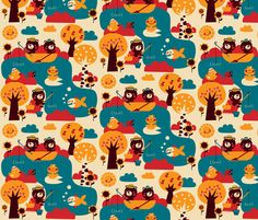 Bears love fish! fabric by bora on Spoonflower - custom fabric