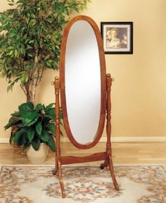 Amazon.com: Queen Anne Style Oak Wood Finish Oval Bevelled Cheval Floor Mirror