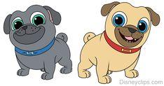 Puppy Dog Pals Bingo and Rolly clip art Perro Labrador Retriever, Cute Puppies Golden Retriever, Retriever Puppy, Boston Terrier Pug, Puppy Birthday Parties, Puppy Party, 2nd Birthday, Happy Birthday, Pugs