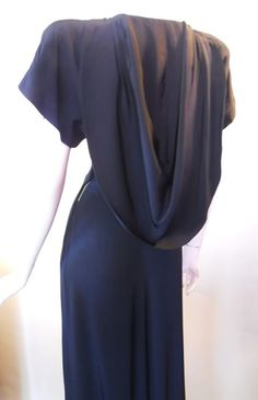 Hooded black crepe 40s evening gown