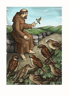St. Francis and the Sparrows by ModHMary on Etsy