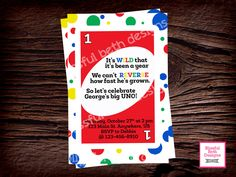 UNO FIRST BIRTHDAY Invitation, Printable First Birthday Invitation, First…