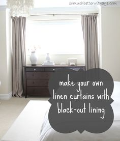 DIY Curtains With Blackout Lining-- Good tips for making any curtains with lining, plus tips for pleats too!