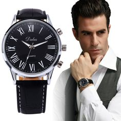 New Luxury Mens Watches Faux Leather Analog Quartz Clock Classical Wrist Watch Black #Affiliate
