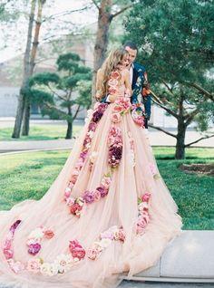 pink wedding dress with flowers / http://www.deerpearlflowers.com/floral-wedding-dresses/