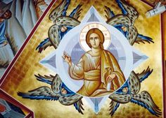 """Icon of Christ """"Emmanuel"""", which means """"God with us"""" with Seraphim"""