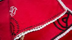 www.sophieladydeparis.etsy.com 4 Original and Beautiful Red French Cotton Tea #Napkins with Monograms. White lace trimmed and black embroideries with white monograms.  Unusu... #antiquelinens #victorian #frenchlinens #sophieladydeparis #damask #doily