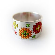 Cross Stitch Flower Ring