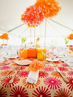gorgeous & bright table setting using fabric designed by Jessica Jones of howaboutorange.blogspot.com