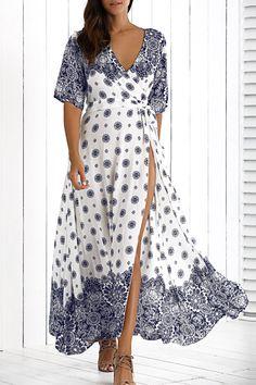 $19.82 Deep V Neck High Slit Bohemian Dress With Belt