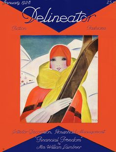 Pattern Vault  1920s ski illustration by Helen Dryden for the cover of Delineator magazine