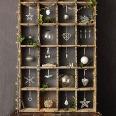 Check Out 20 Best Vintage Christmas Decorations Ideas. A very nice way to marry vintage Christmas decorations into the home is to align them into displays and themes. Silver Christmas, Noel Christmas, Country Christmas, All Things Christmas, Vintage Christmas, Christmas Ornaments, Christmas Ideas, Hanging Ornaments, Christmas Shadow Boxes