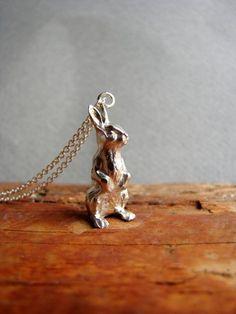 Silver Bunny Necklace Bunny Jewelry Animal Jewelry by Nafsika
