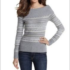 WH|BM shimmer knit sweater Off the shoulder knit sweater in ivory, metallic gold and silver, and gray (the color is as pictured in pics 2-4).Very pretty. White House Black Market Sweaters