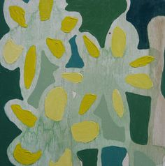 """7"""" x 7"""" Original Acrylic Painting on Wood - 3 Flowers with Yellow, Green, and Teal. via Etsy."""