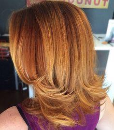 Medium Red Layered Hairstyle