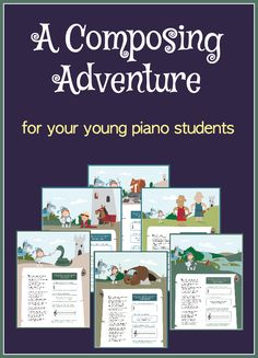 This book takes your young piano students on a composing quest where they create 7 masterpieces. A unique way to teach composition strategies... and a fabulous way to add fun to your lessons. Just $8 with unlimited printing at www.pianobookclub.com *available only until July 30, 2016