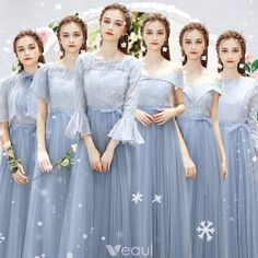 Chic / Beautiful Sky Blue Bridesmaid Dresses With Shawl 2019 A-Line / Princess Floor-Length / Long Ruffle Wedding Party Dresses Mismatched Bridesmaid Dresses, Cute Prom Dresses, Blue Bridesmaids, Wedding Bridesmaid Dresses, Wedding Party Dresses, Wedding Attire, Homecoming Dresses, Dress Outfits, Fashion Dresses