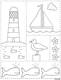 .by the sea. Lighthouse, seagulls, sailboat