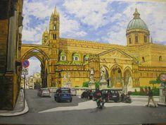 Vista della Cattedrale di Palermo in ambiente urbano. Olio su tela. Contatto: micheleboscia89@gmail.com E' stato venduto. #art #palermo #cattedrale #italy #paesaggio #artwork #sicily