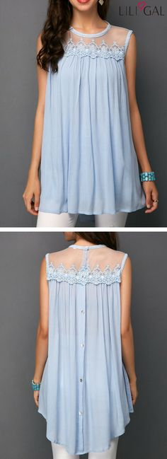 Such a delightful Pleated Mesh Panel Light Blue Blouse. Love the back with its cute buttons and love the net insert at the yoke. Pastel colours are my favorites because they are kind to any skin shade. Fashion 2018, Fashion Dresses, Womens Fashion, Stylish Outfits, Cool Outfits, Light Blue Blouse, Pastel Colours, Pinterest Fashion, Mesh Panel