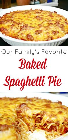 Baked Spaghetti Pie Recipe - A Family Favorite Meal - Mom 4 Real - Amazing Foods Menu Recipes Spaghetti Torte, Baked Spaghetti Pie, Spaghetti Pie Recipes, Spaghetti Bake Recipe Easy, Cheese Spaghetti, Great Recipes, Favorite Recipes, Dinner Recipes, Dinner Ideas