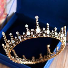 Vintage Wedding Bridal Queen Full Crown Tiara Rhinestone HairAccessories Jewelry