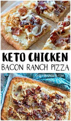 VISIT FOR MORE Keto Chicken Bacon Ranch Pizza Recipe- ketogenic diet low carb pizza recipe. Easy keto dinner lunch meal idea to make for kids and the family. Comfort food on a low carb diet. Low Carb Pizza, Low Carb Diet, Easy Low Carb Meals, Low Carb Meals Chicken, Good Meals, Easy Diabetic Meals, Best Low Carb Snacks, Best Keto Meals, Diet Pizza