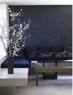chalky velvet slate blue wall