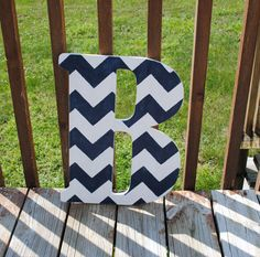 Rustic Custom Distressed Navy Blue Chevron Home Decor Decorative Pottery Barn Style Letters Wedding Gift Bridesmaid