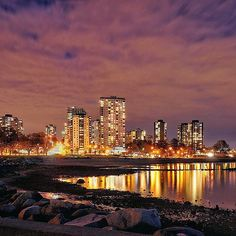 The lights of the city shining bright over Vancouver's English Bay.   Photo: @arch_barrera via Instagram #exploreBC #explorecanada