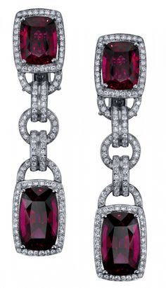 Parisian Rubellite Deco Earrings These Deco Rubellite and Diamond Earrings are paired with a matching Necklace in an Exquisite suite that reflects the Grandeur and Opulence of the Era that inspired it.