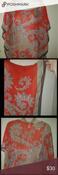 Talbots Red Paisley Sheer Silk Poncho Sheer paisley poncho from Talbots. Colors are red, gray, blue, and orange. 100% silk. Size small/medium. 36 inches wide. 25.5 inches long. Talbots Tops Blouses