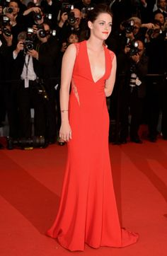 """Kristen Stewart attends the """"Cosmopolis"""" premiere wearing a Reem Acra gown during the 65th Annual Cannes Film Festival at Palais des Festivals on May 25, 2012, in Cannes."""
