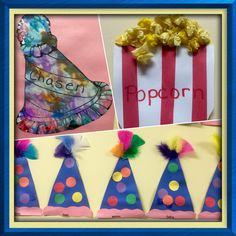 Easy crafts for circus themed preschool curriculum Circus Crafts Preschool, Circus Activities, Clown Crafts, Carnival Crafts, Art Activities For Toddlers, Preschool Projects, Preschool Activities, Circus Theme Crafts, Preschool Curriculum
