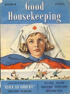 "Junior nurse in training on cover of ""Good Housekeeping Magazine."" ~ WWI era illustration."