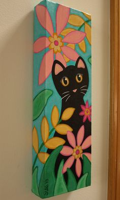 TROPICAT is the title of this pretty. tropical painting. Kona the cat thought his black coat looked quite handsome against the colorful flowers! DETAILS: *Original one-of-a-kind painting by the artist - me, Jill *Quality acrylics on a 12 x 4 gallery wrapped canvas *The images wrap around the 1 1/4 sides! *Finished with 2 coats of Satin Varnish to protect & enhance colors *Sawtooth hanger on the back - all ready to hang & display *Signed by artist on both front & back SHIPPING: I...